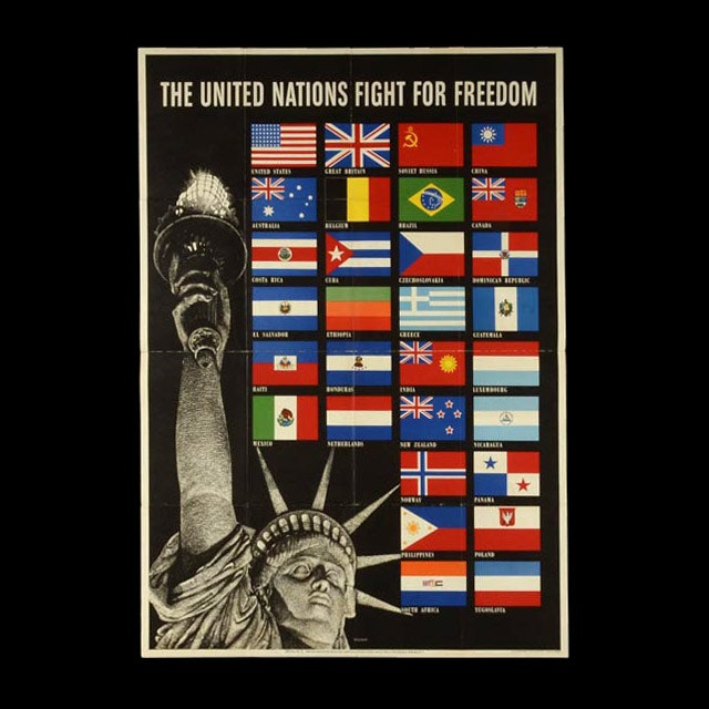 "Original Vintage 1942 World War II Poster ""The United Nations Fight for Freedom"""