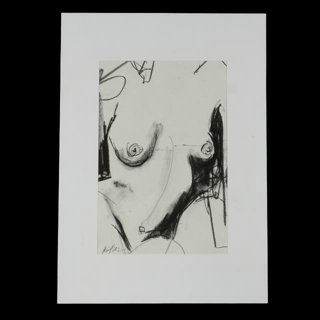 "Robbie Kemper Original Charcoal Drawing ""Nude #40"""