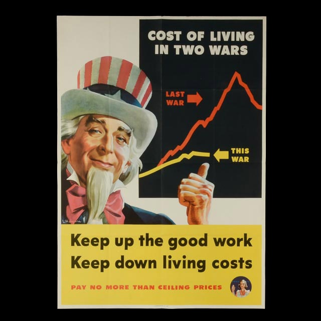 "Original WWII Propaganda Poster ""Keep Up the Good Work: Keep Down Living Costs"""