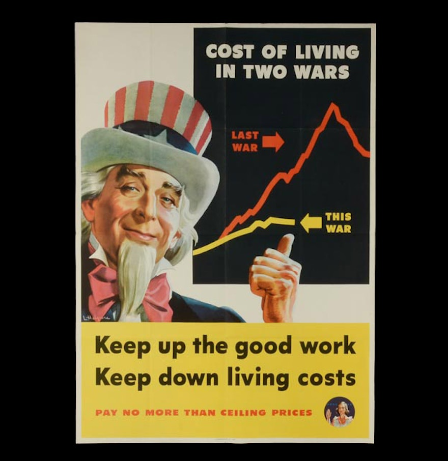 "How To Keep Your Extension Costs Down: Original WWII Propaganda Poster ""Keep Up The Good Work"