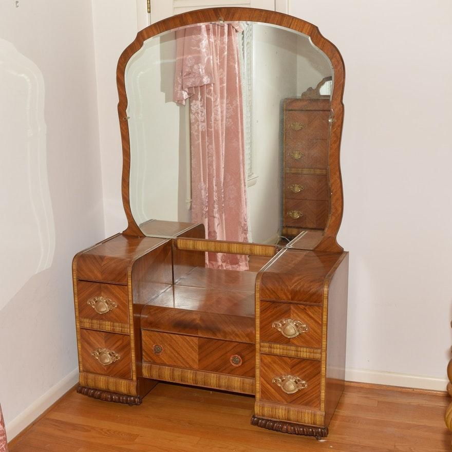 Webb Furniture Dresser With Mirror: Vintage Webb Furniture Art Deco Style Vanity With Mirror