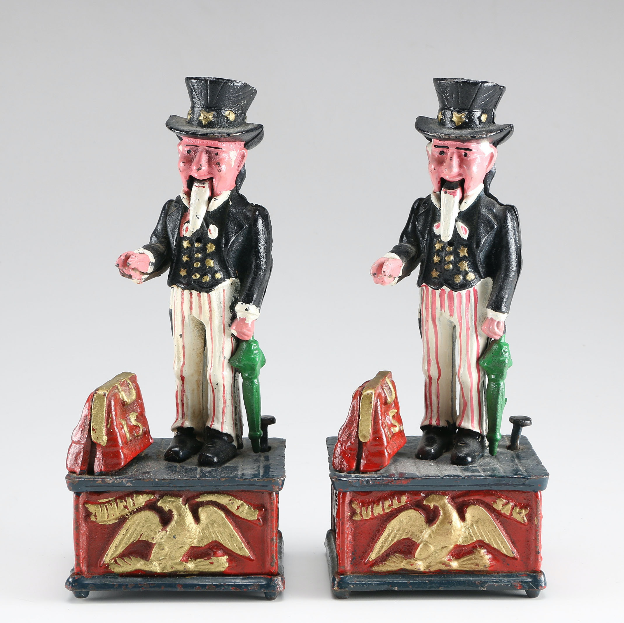Pair of Vintage Cast Iron Reproduction Uncle Sam Coin Banks