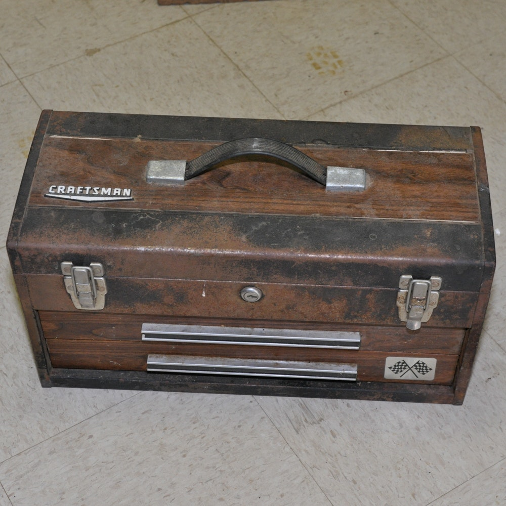Vintage Craftsman Toolbox with Assorted Hand Tools
