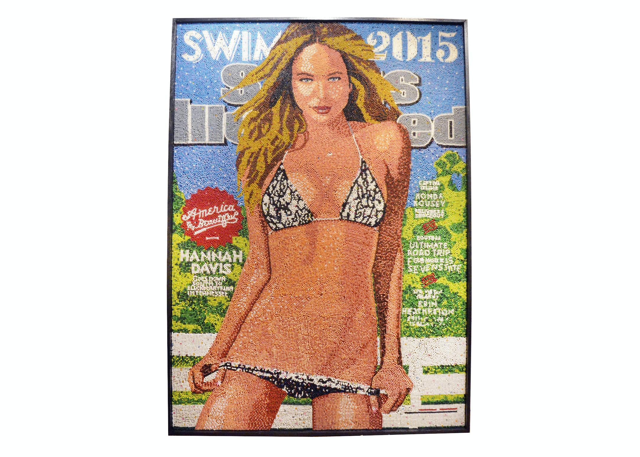 "Herb Williams ""Swimville"" Crayon Mosaic of Hannah Davis"