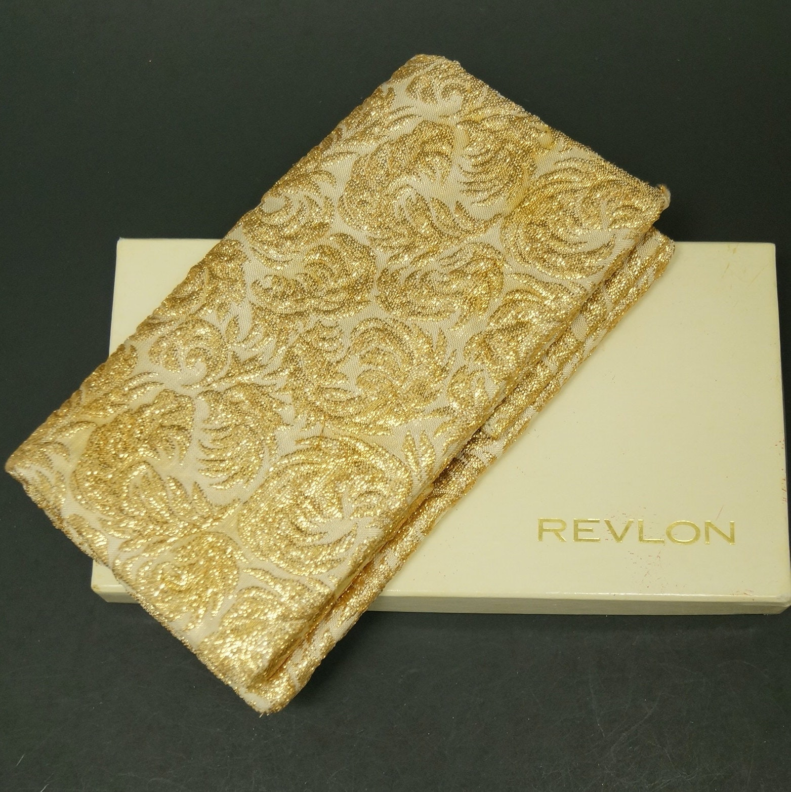 Circa 1960s Vintage Revlon Evening Clutch with Compact Case