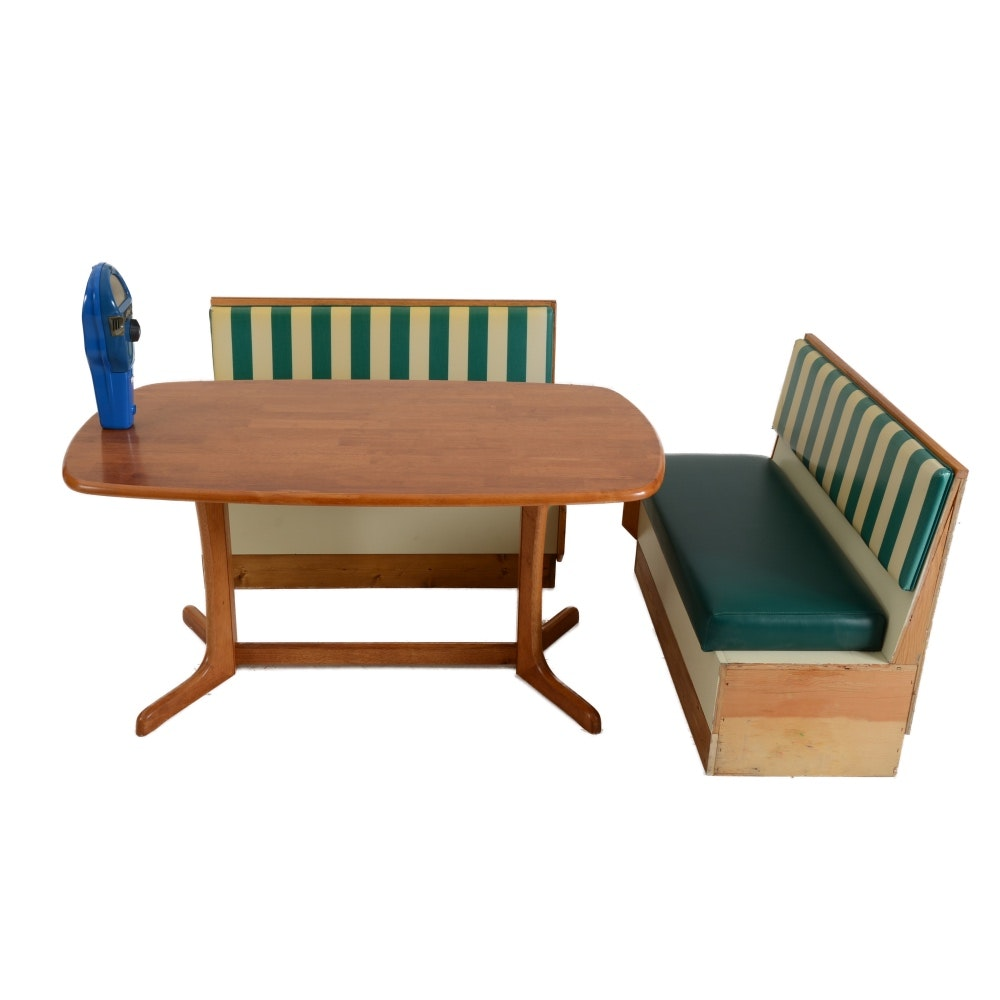 Dining Table with Booth Seats and Vintage Parking Meter