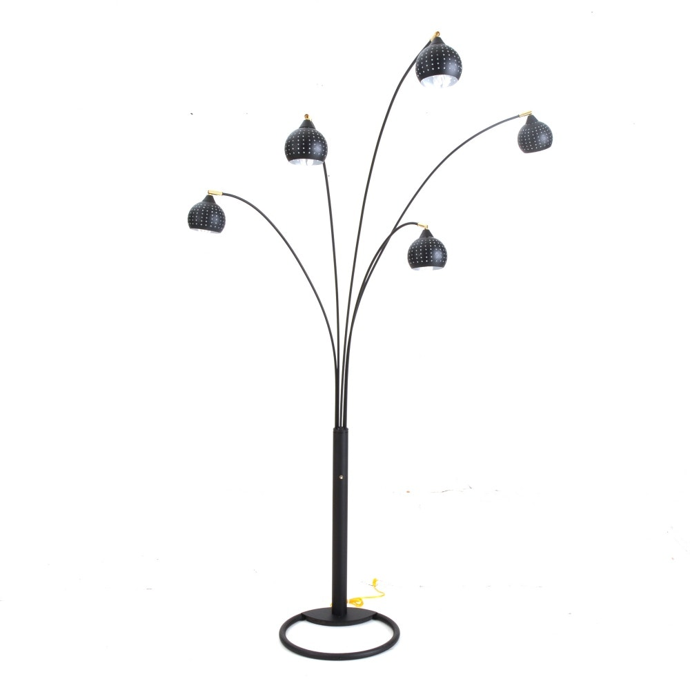 Contemporary Black Metal Cantilevered Floor Lamp