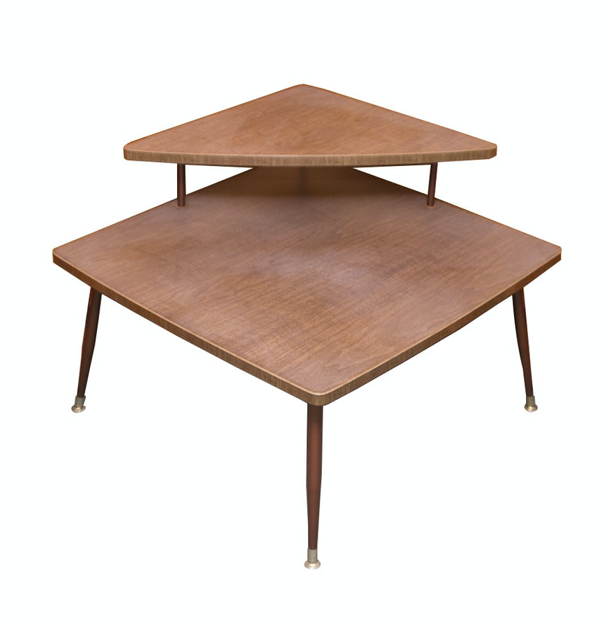 Two Tier Mid Century Modern Corner End Table Ebth
