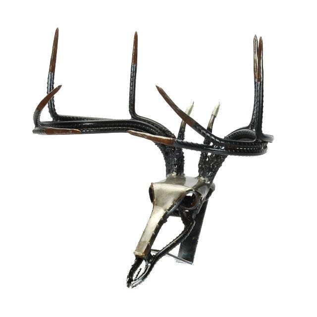 Metal and Rebar Deer Skull Sculpture