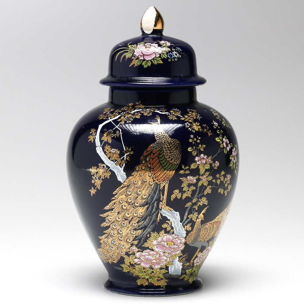 Japanese Peacock And Floral Vase Ebth