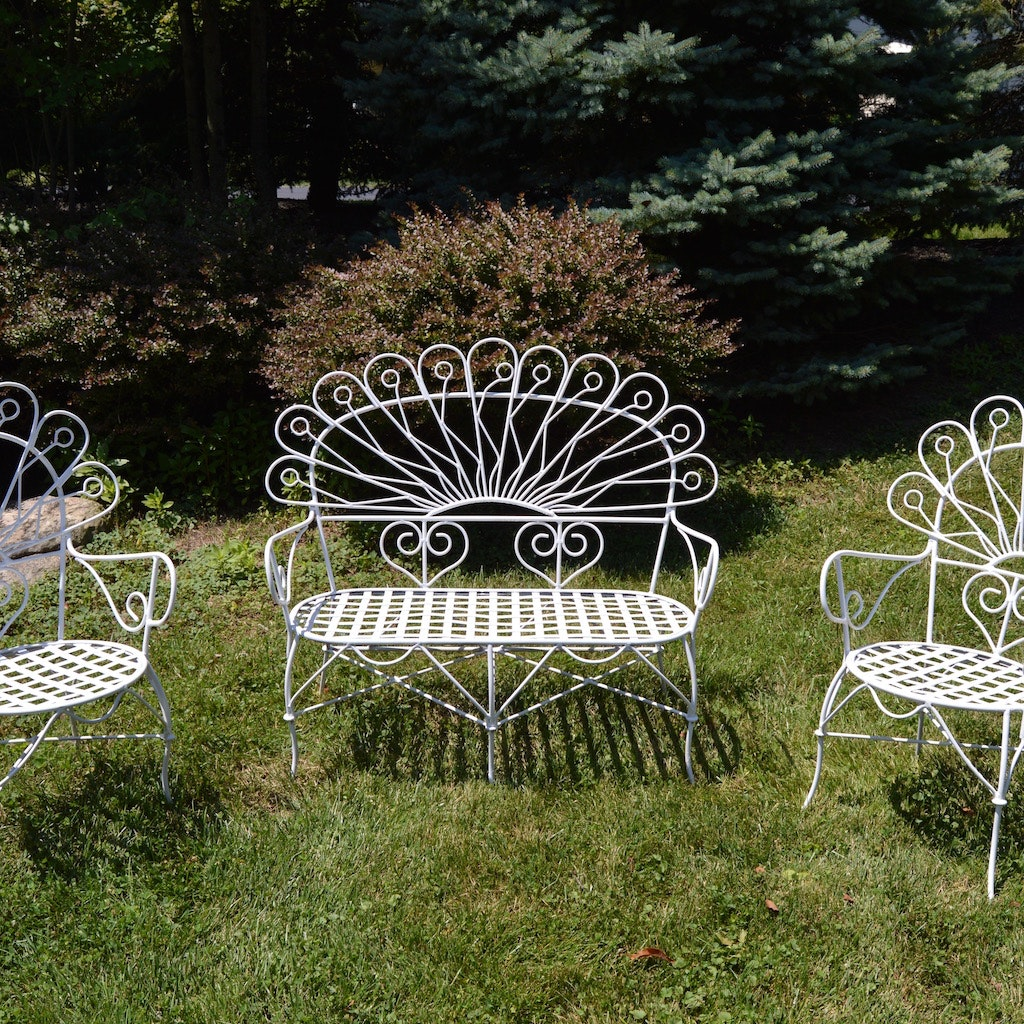 Trio Of White Wrought Iron Patio Furniture