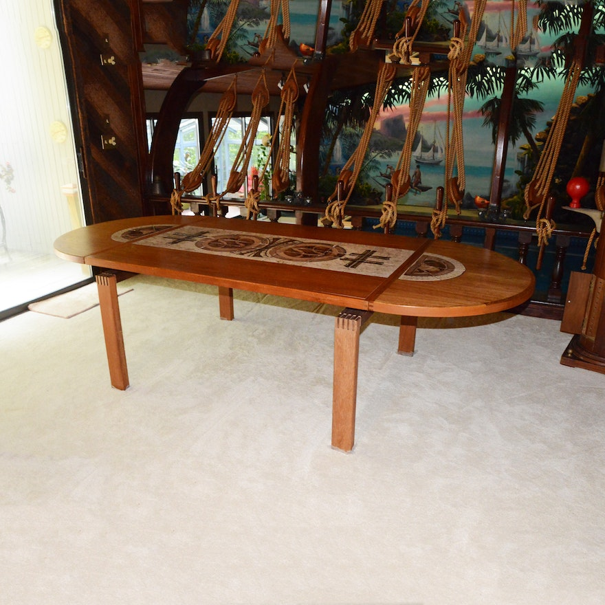 Tile Inlay Teak Dining Table Ebth