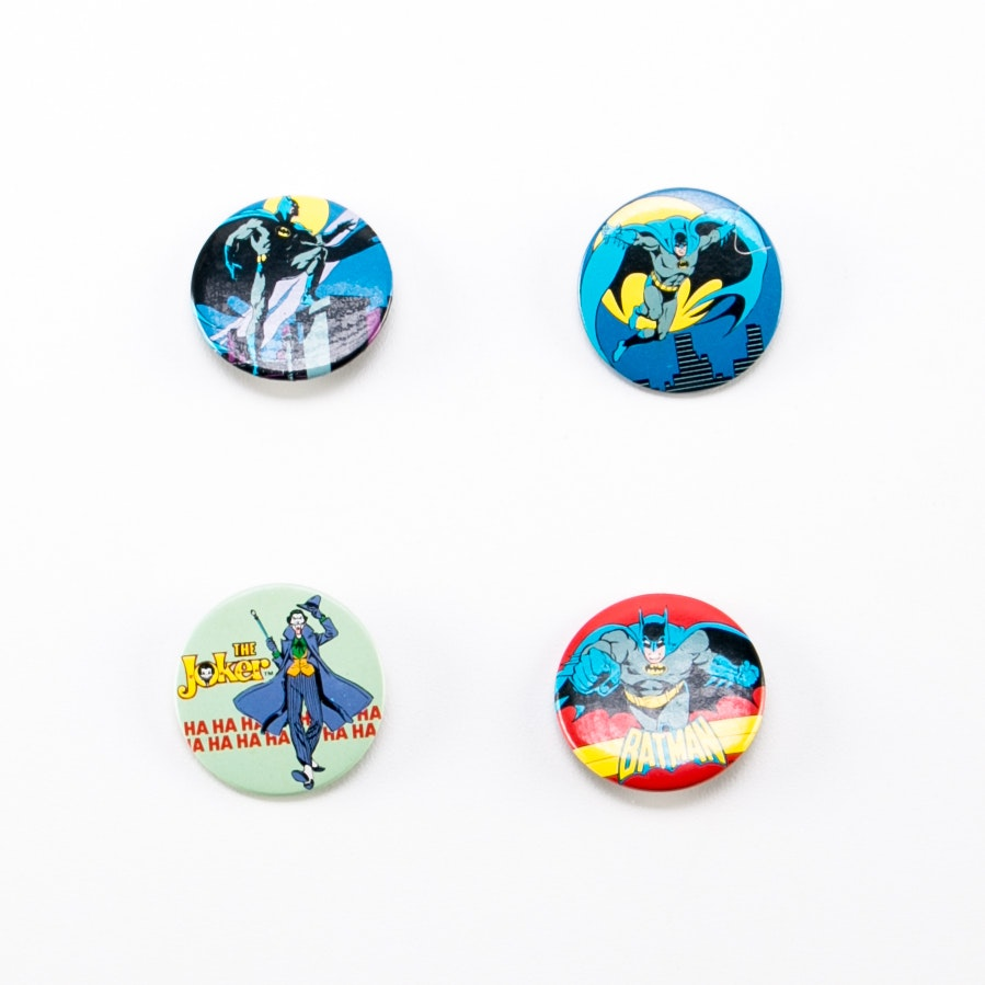 Four Vintage DC Comic Pins