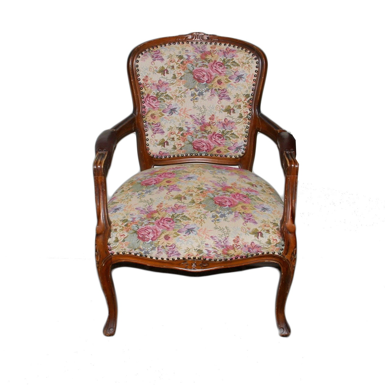 Queen Anne Hand Carved Upholstered Chair