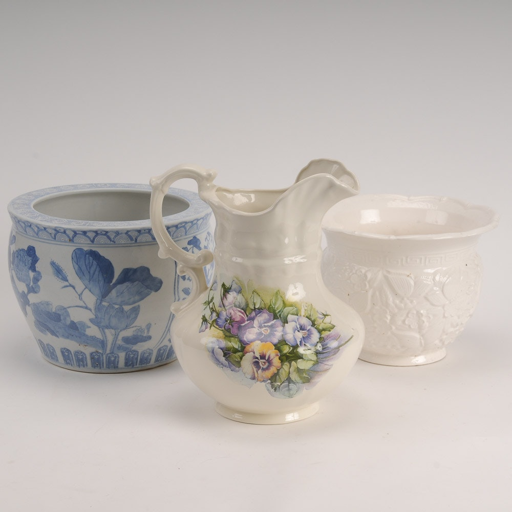A Pair of Jardinieres a Pitcher