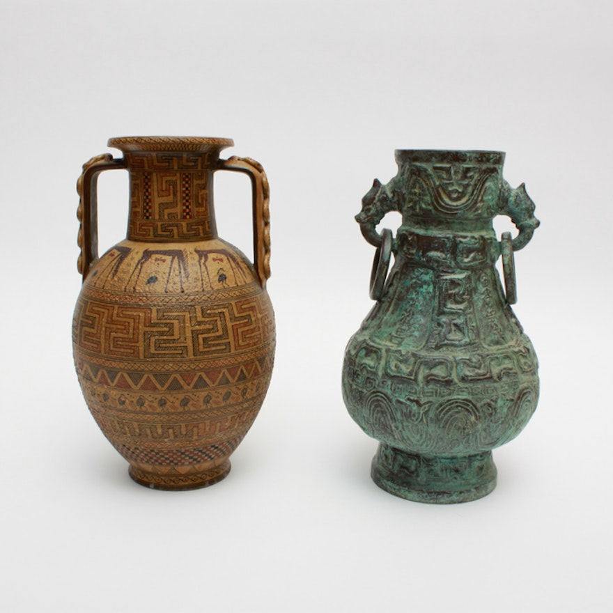 Pair Of Decorative Vases Including Chinese Archaic Style Bronze Vase