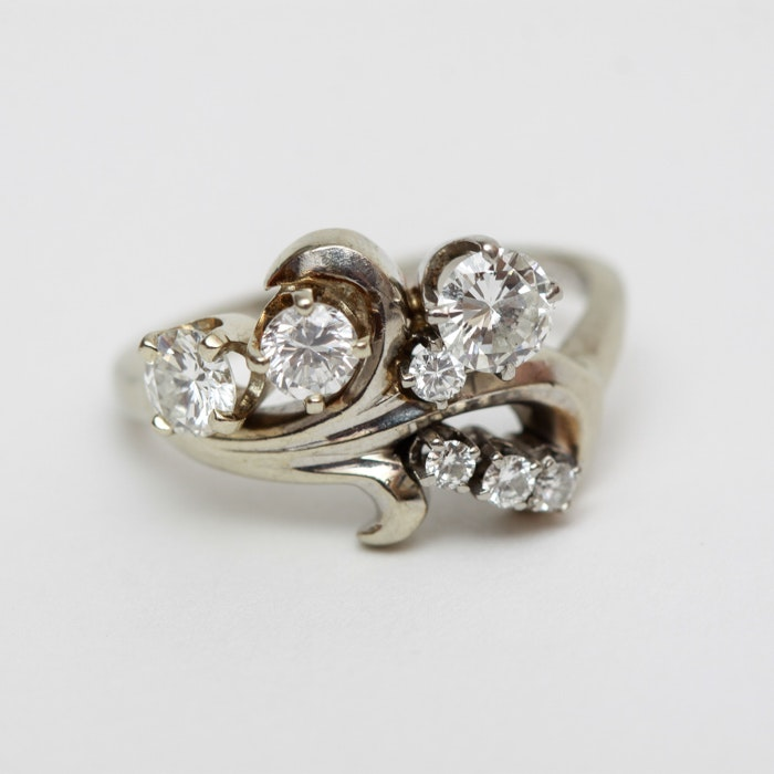 Fine 14K White Gold and Diamond Ring