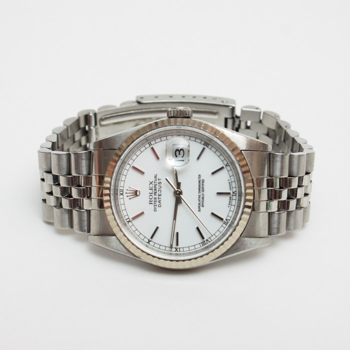 Men's White Gold Oyster Perpetual Datejust Rolex Watch