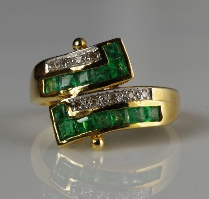 Emerald, Diamond, and 14K Yellow Gold Ring