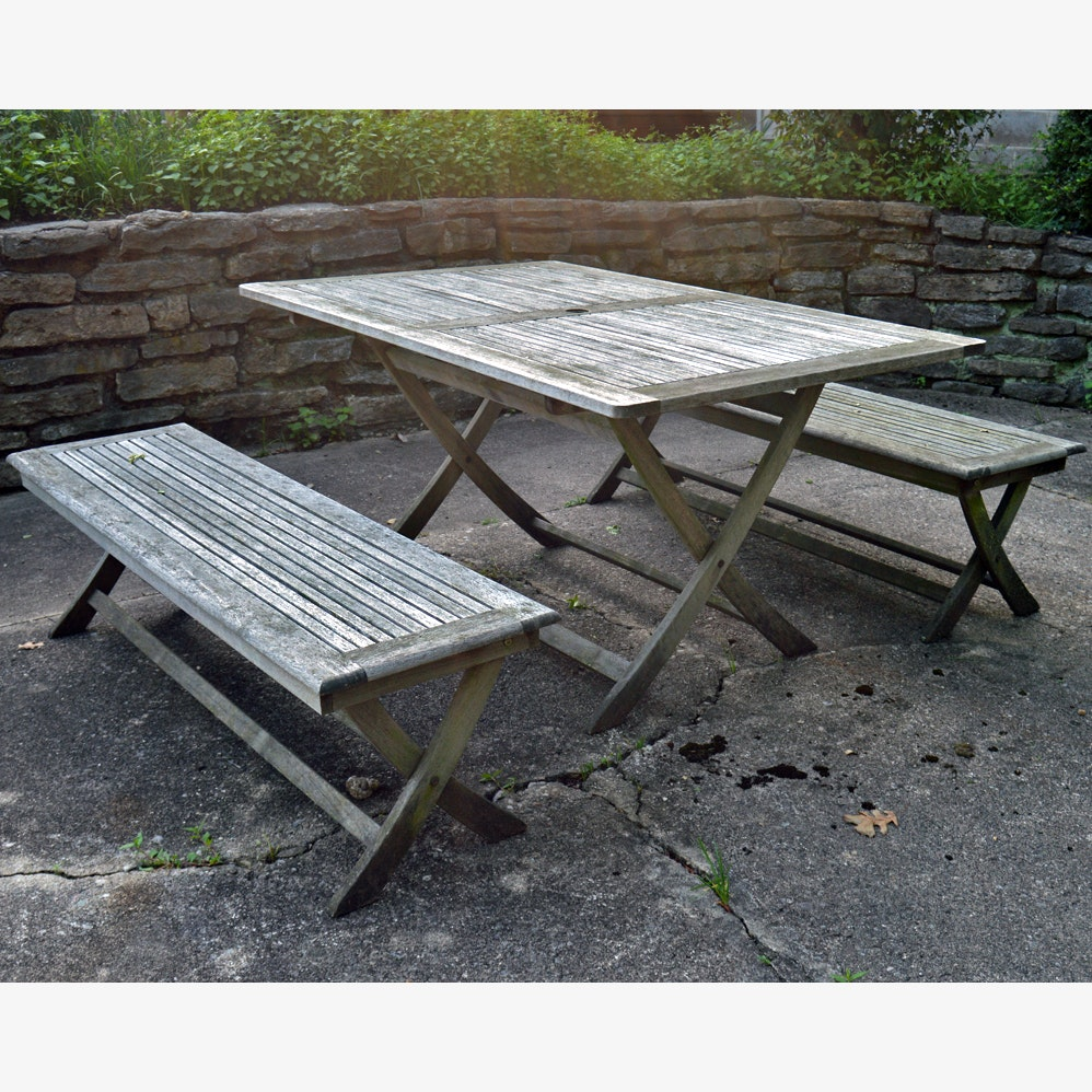 Teak Patio Table and Bench Set