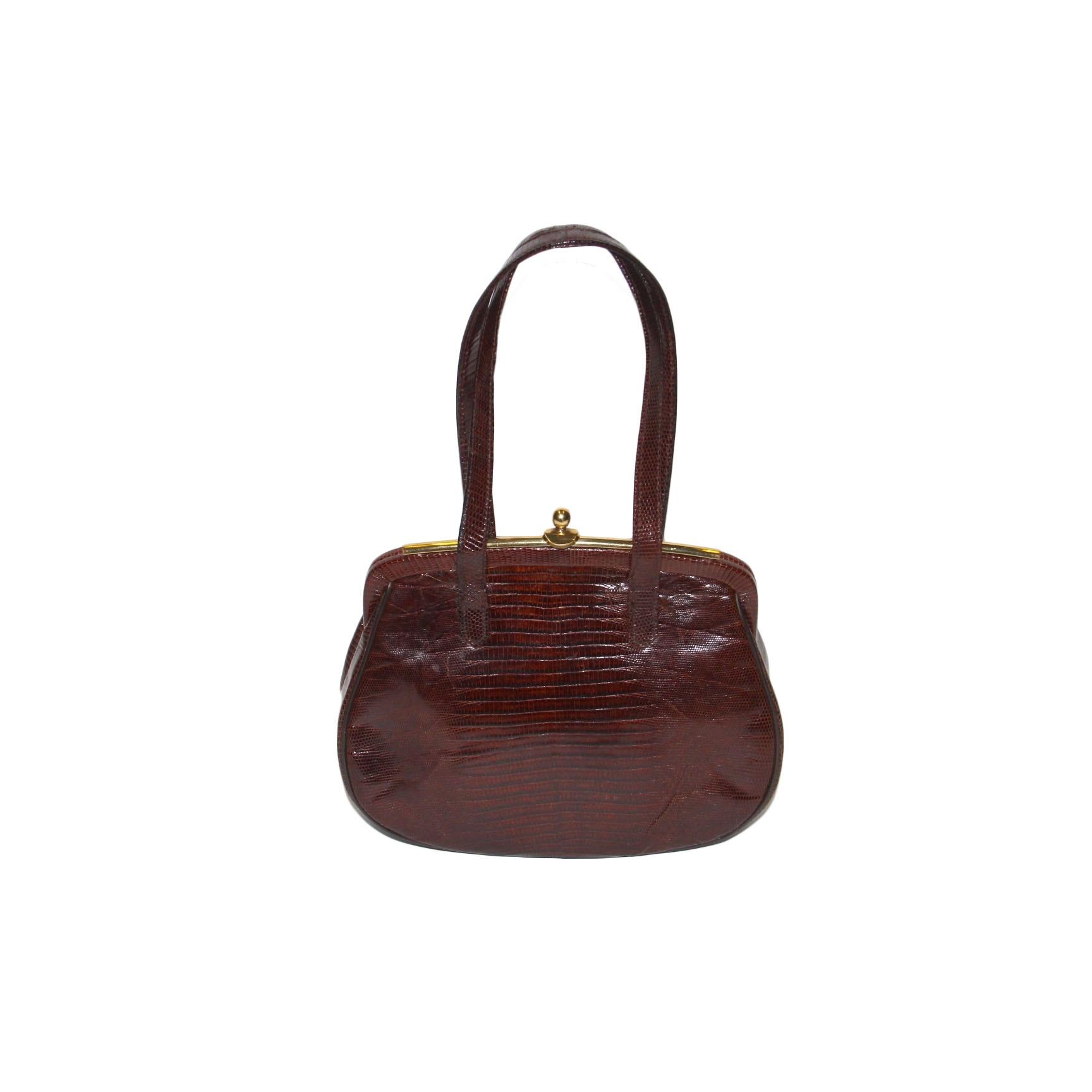 Mid Century Genuine Lizard Handbag By Mayer NY