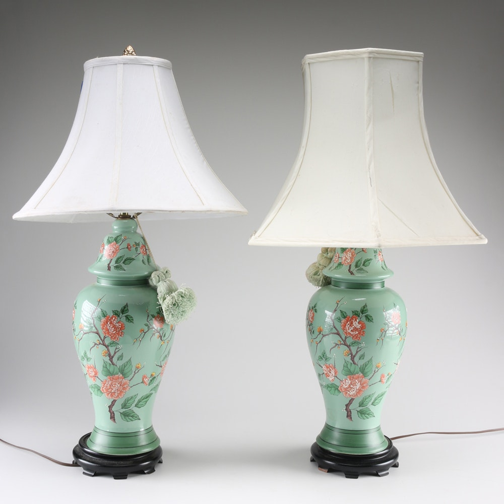 Pair of Green Floral Lamps