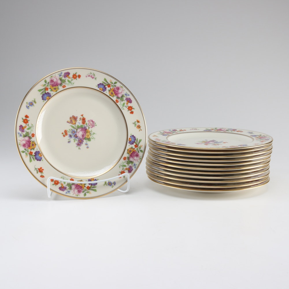 Belleek Floral Patterned China Plates