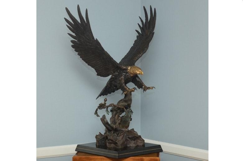"Lorenzo Ghiglieri's ""American Bald Eagle"" Bronze & Gold Sculpture"