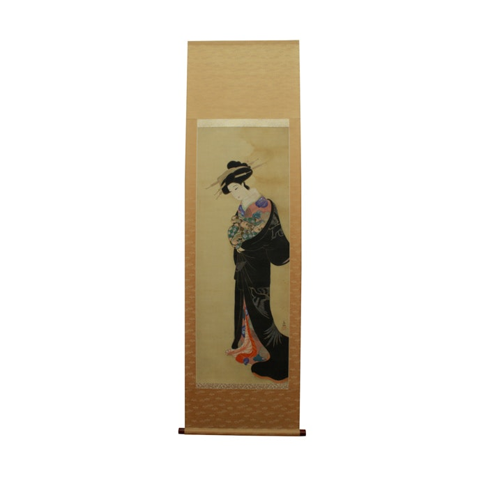 Antique Hand-Painted Japanese Silk Hanging Scroll