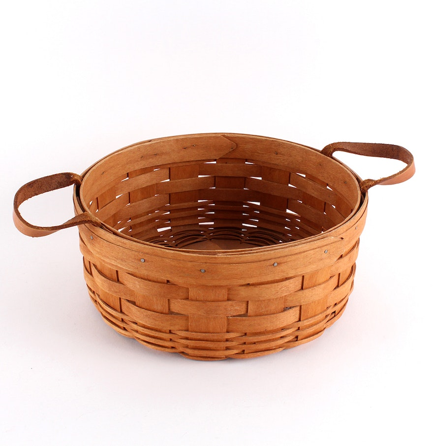 1991 longaberger 10 diameter leather handled round basket ebth - Diametre cercle basket ...