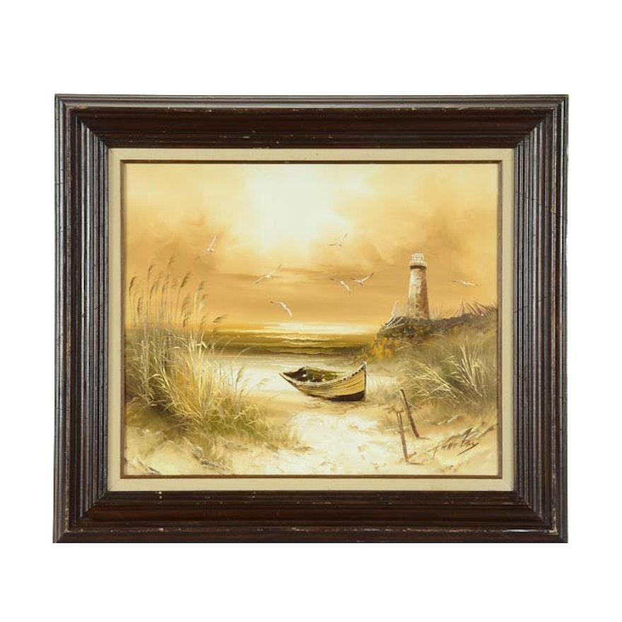 H Gailey Oil On Canvas Coastal Painting Ebth
