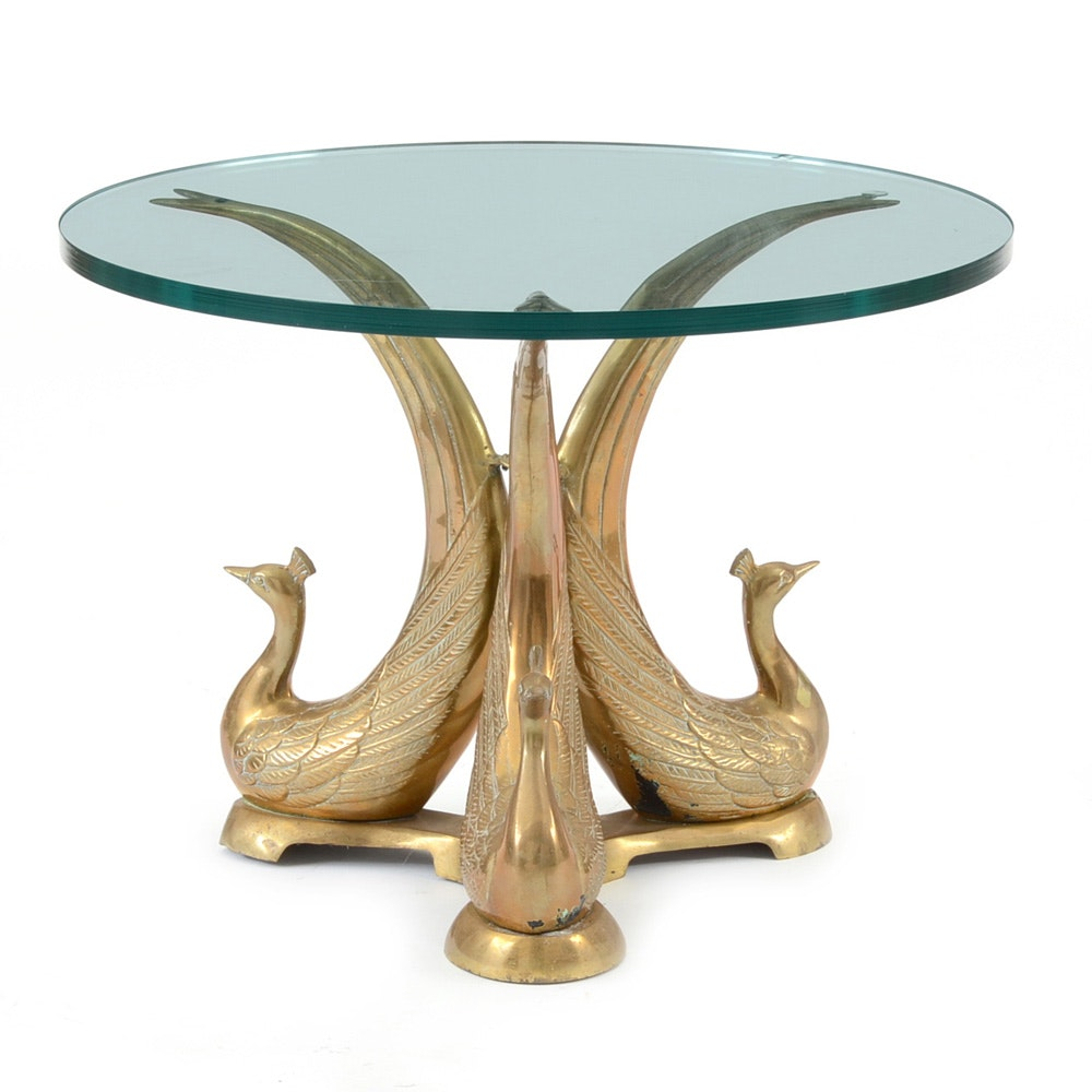 Brass and Glass Peacock Occasional Table