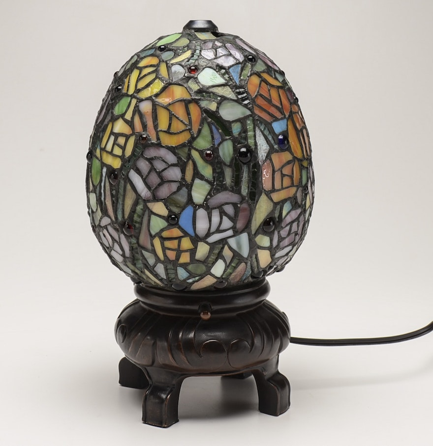 Tiffany Style Slag Glass Egg Shaped Lamp EBTH