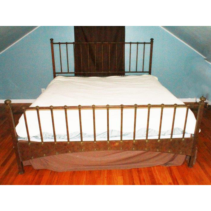 King Size Metal Bed Frame with Copper Patina EBTH