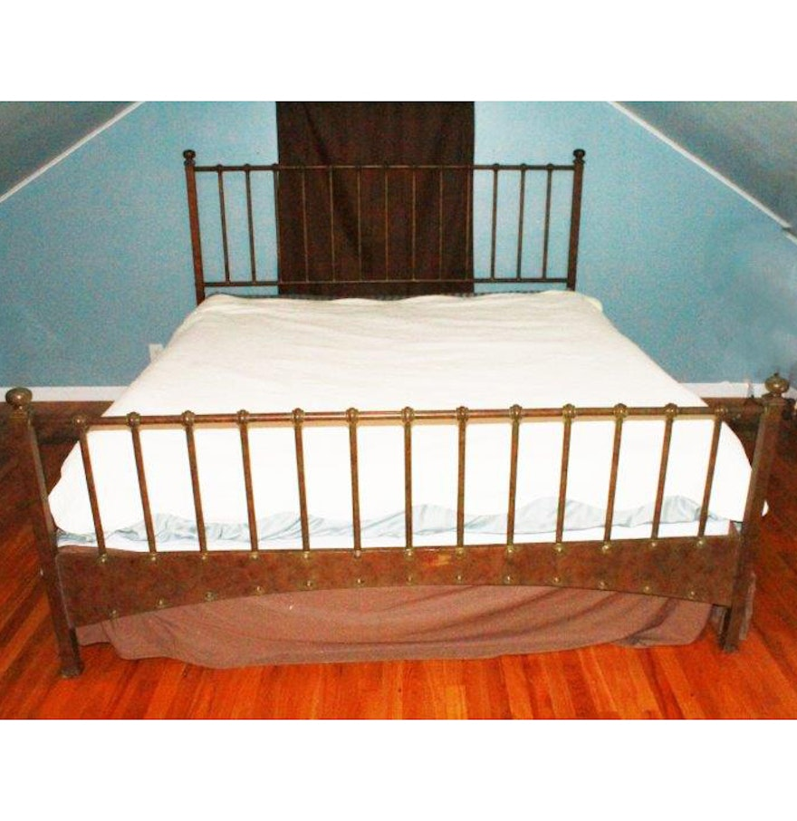 king size metal bed frame with copper patina