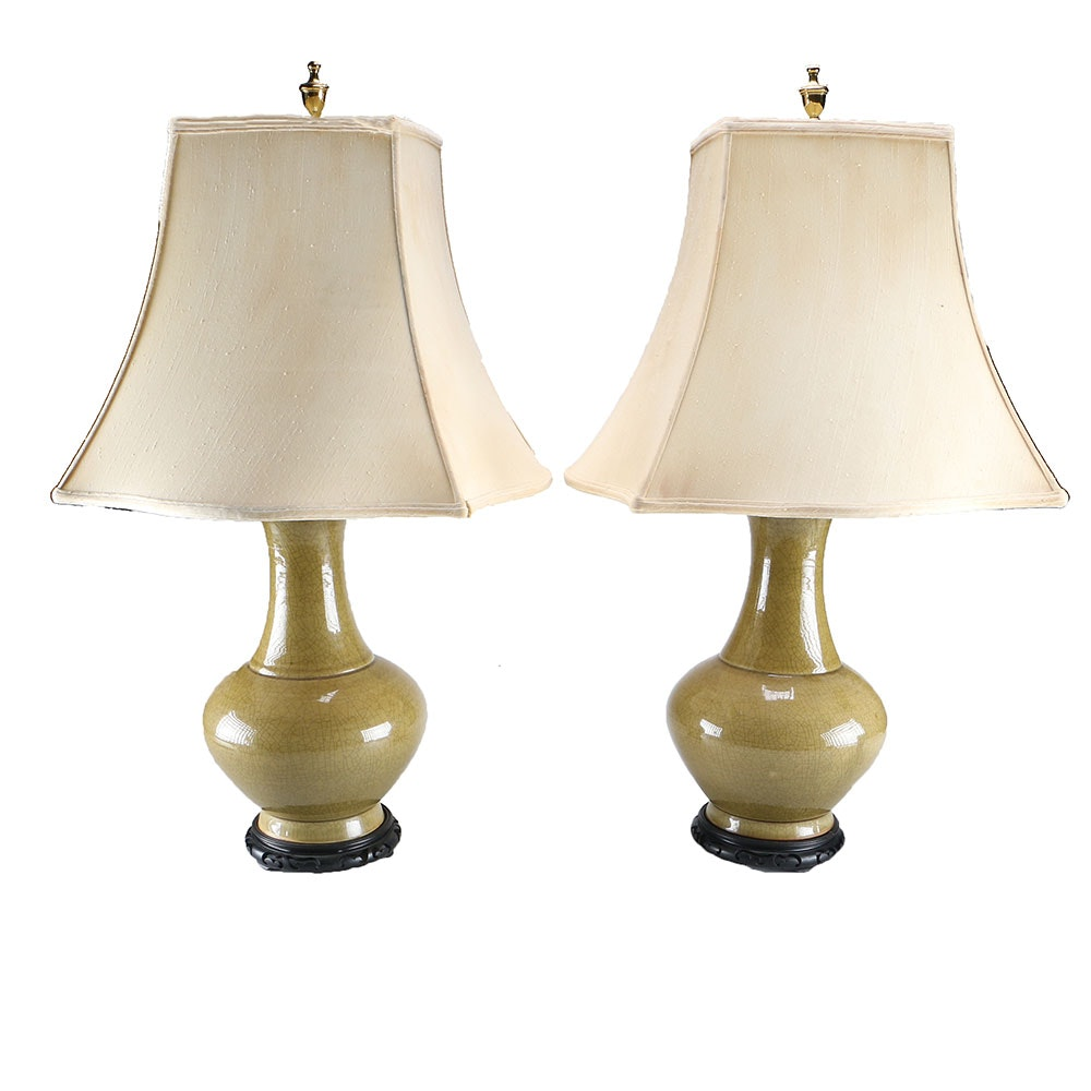 Pair Olive Green Ceramic Table Lamps