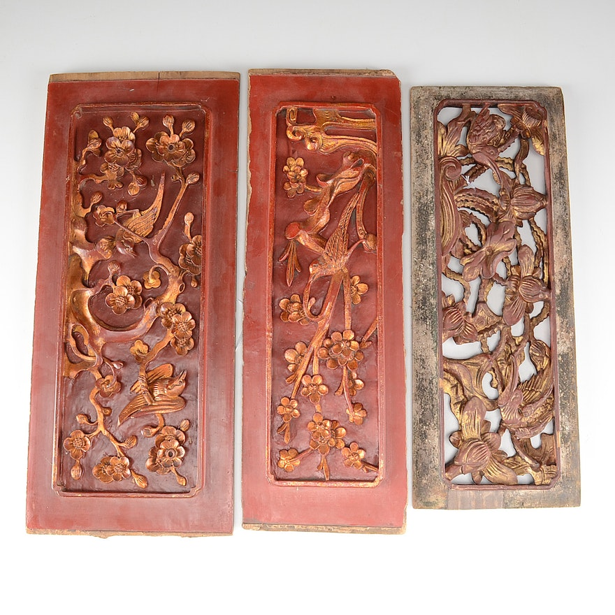 Carved chinese wood panels ebth