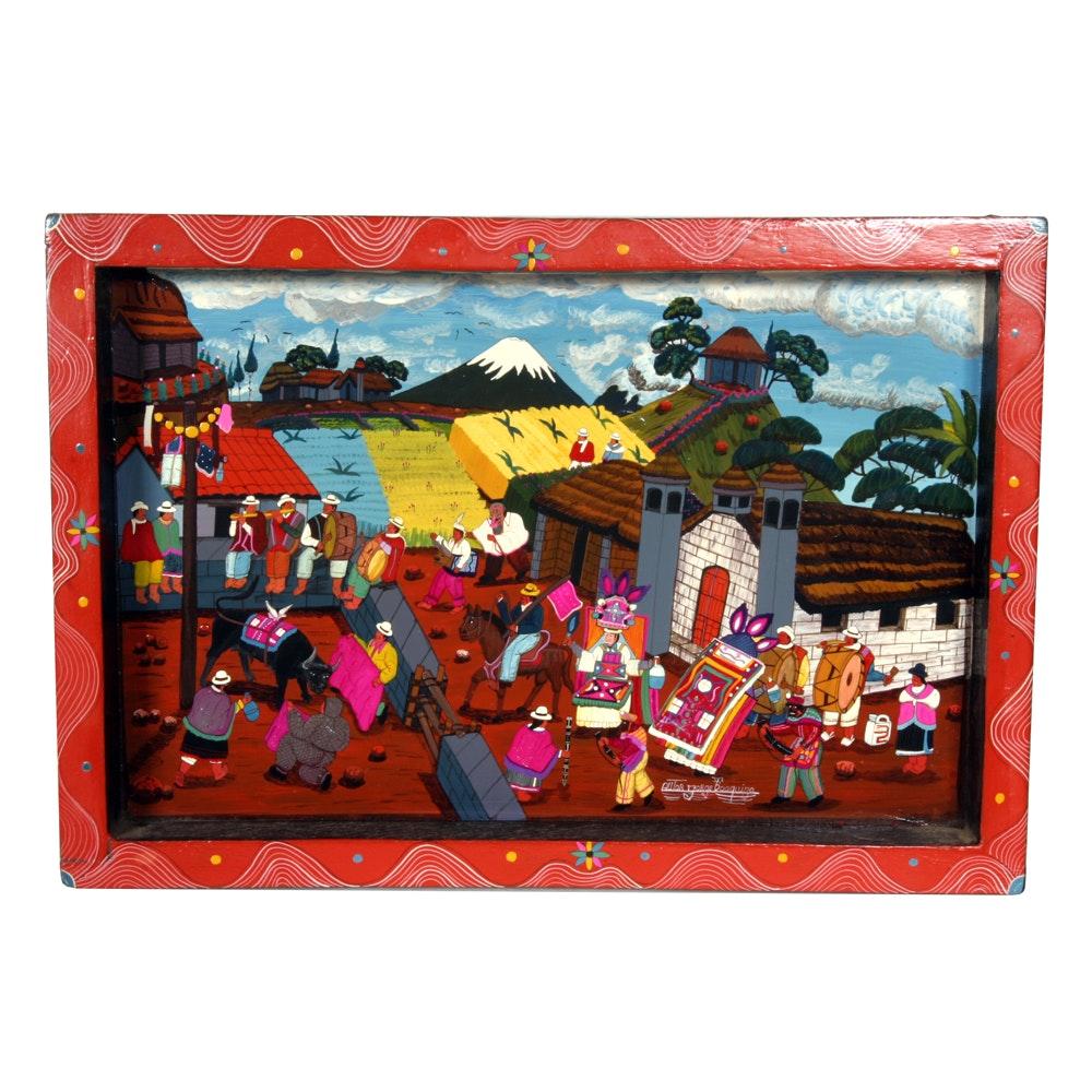 Autor Jorge Toaquiza Equador Festival Folk Art Painting