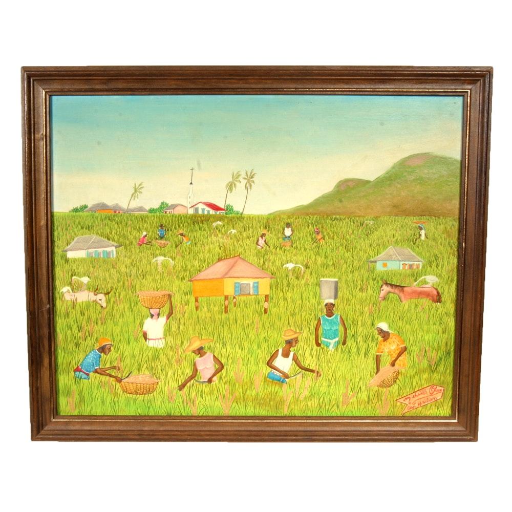 Micheille Obin Haiti Folk Art Oil Painting