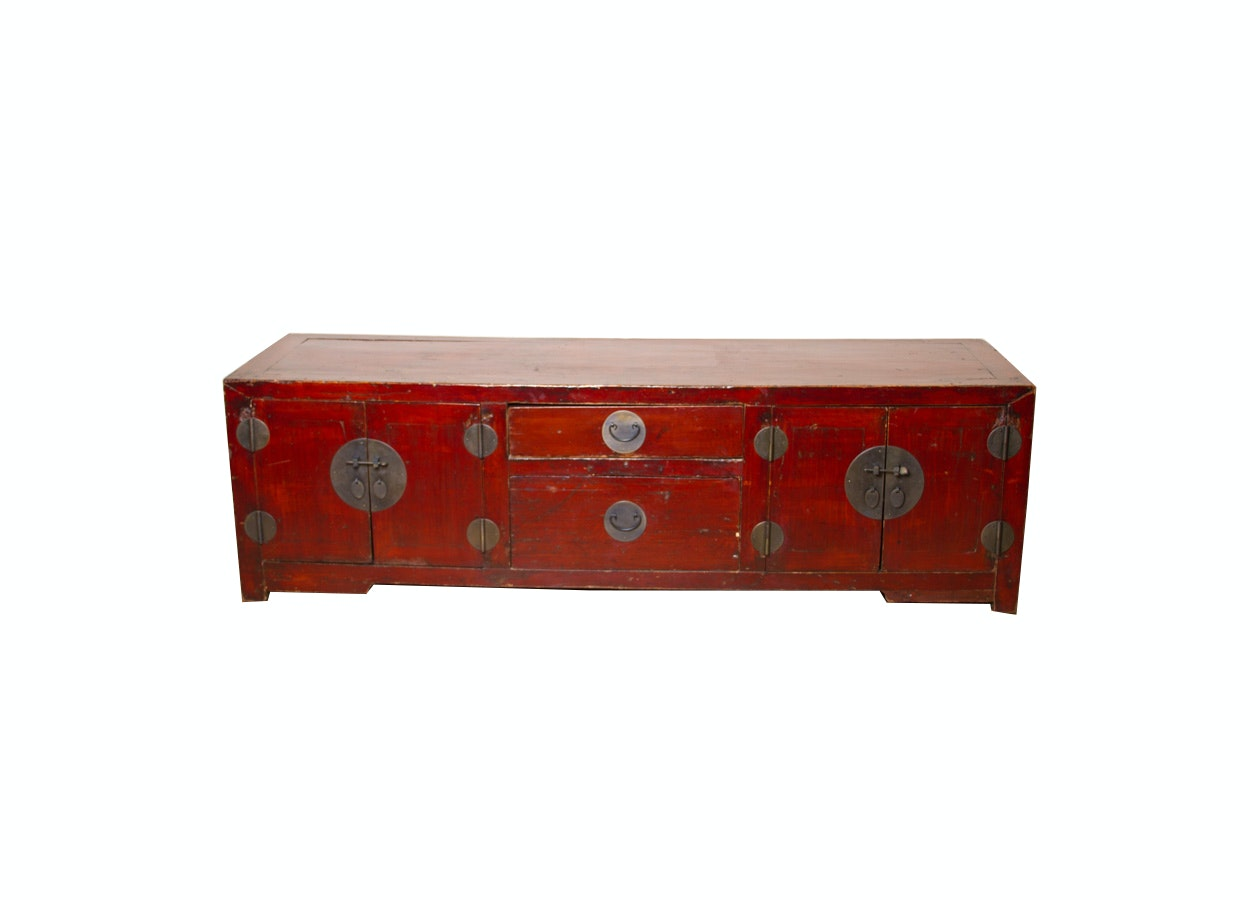 Red Lacquer Asian Sideboard