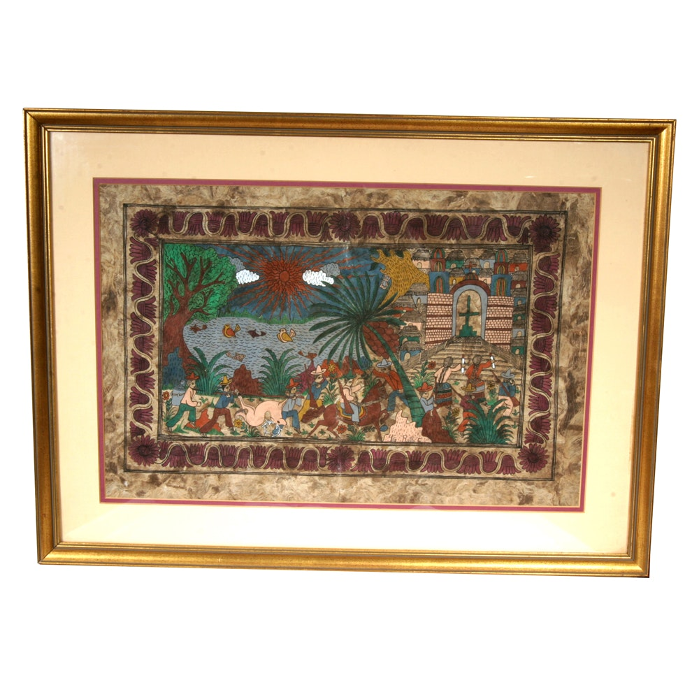Tito Rutilo Mexican Folk Art Amate Bark Painting