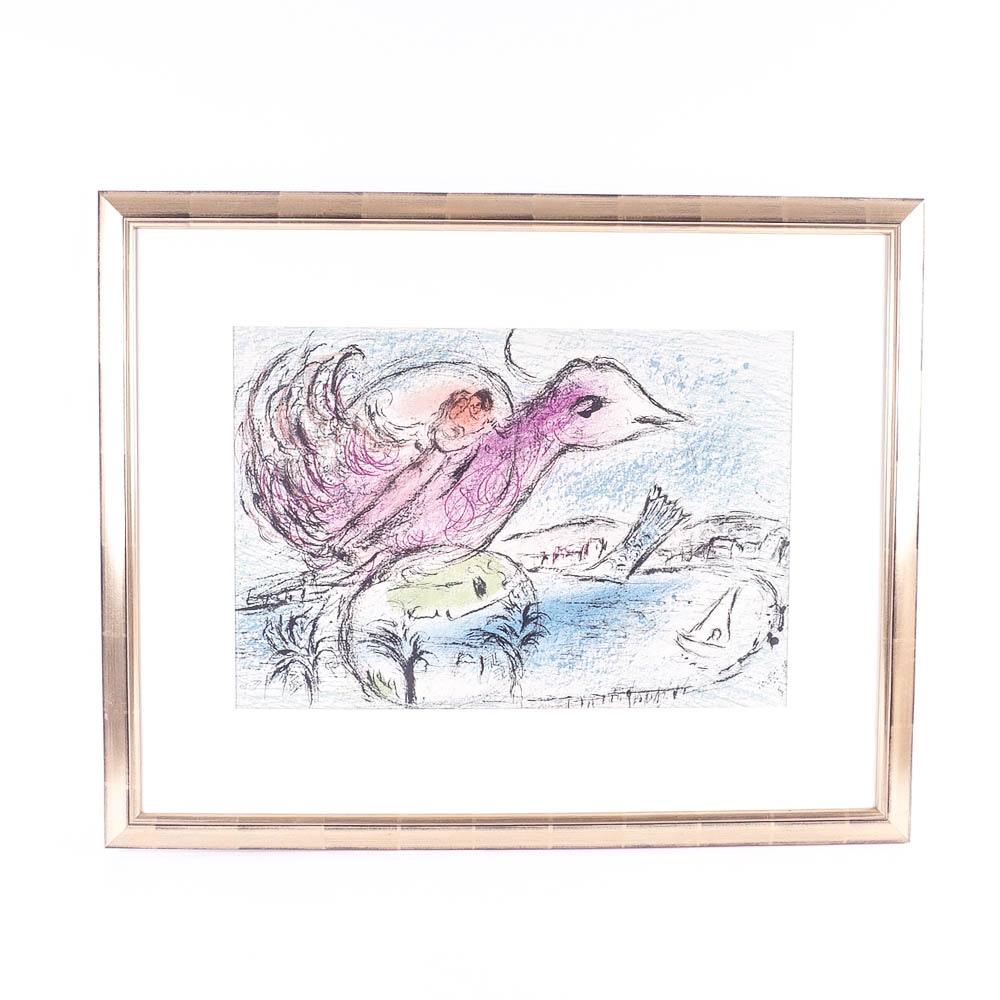 "Original Marc Chagall Lithograph Titled ""La Baie"""