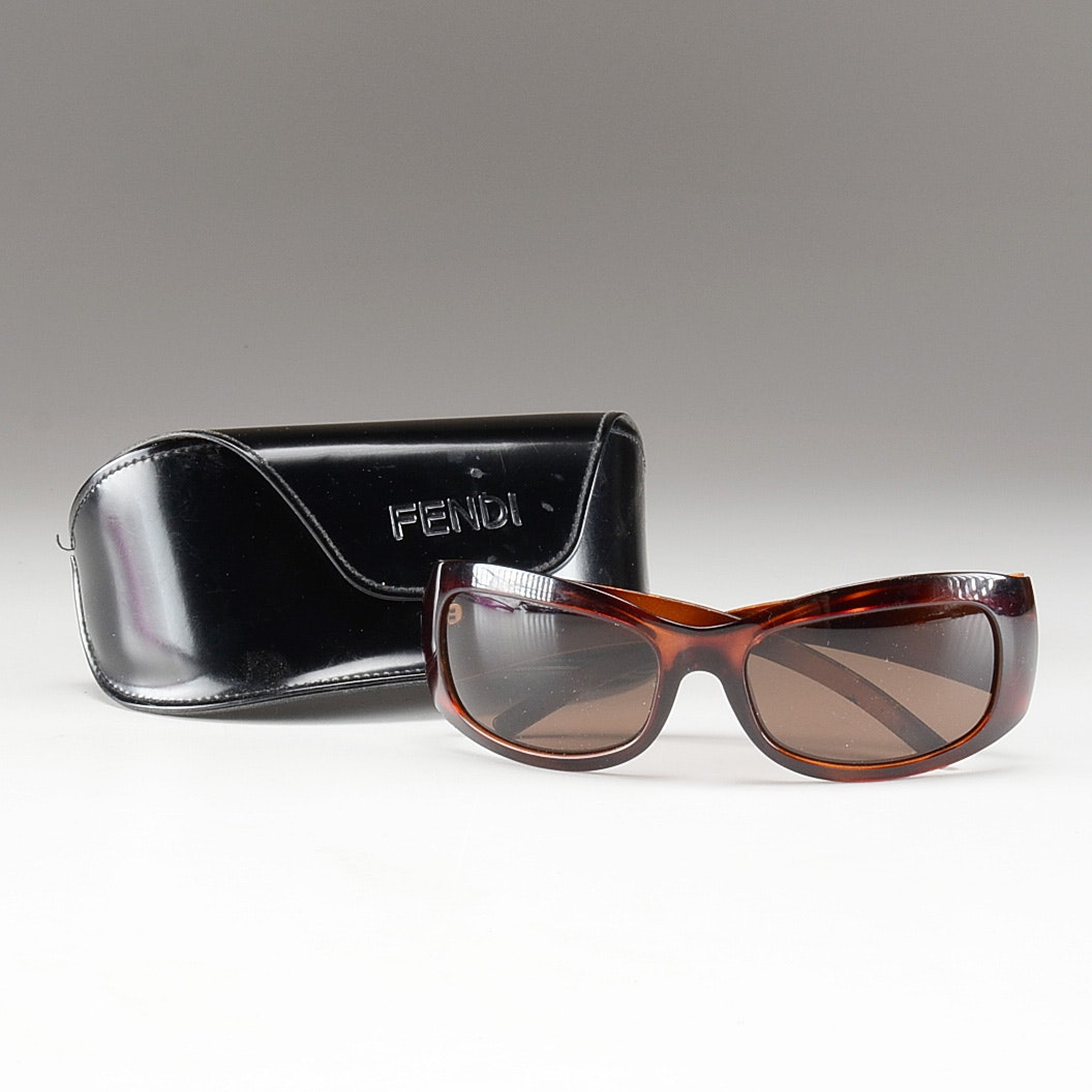 Fendi Brown Torti F Logo Wrap Sunglasses