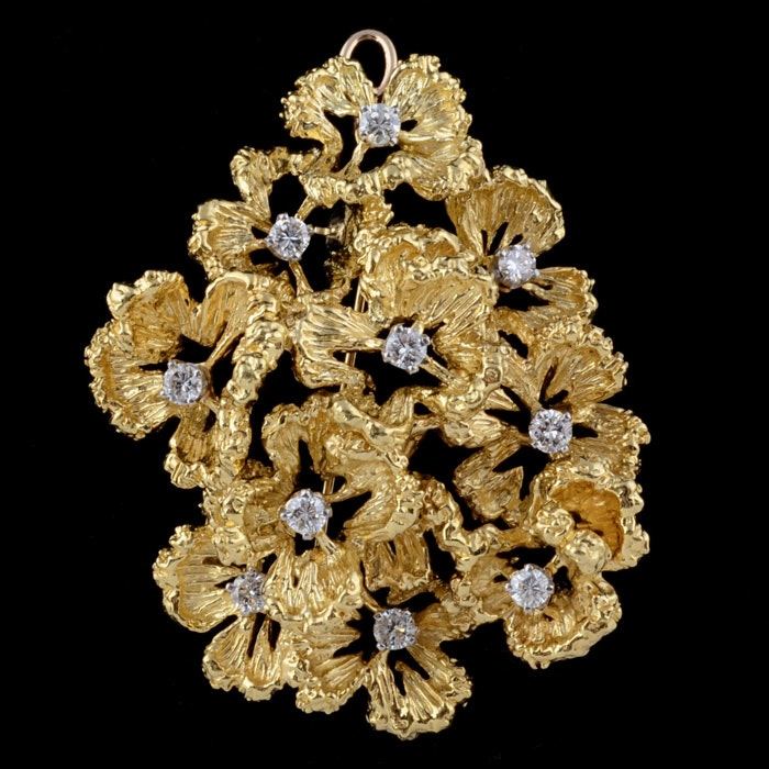 Vintage Tiffany & Co. 18K Yellow Gold and Diamond Dimensional Floral Brooch/Pendant