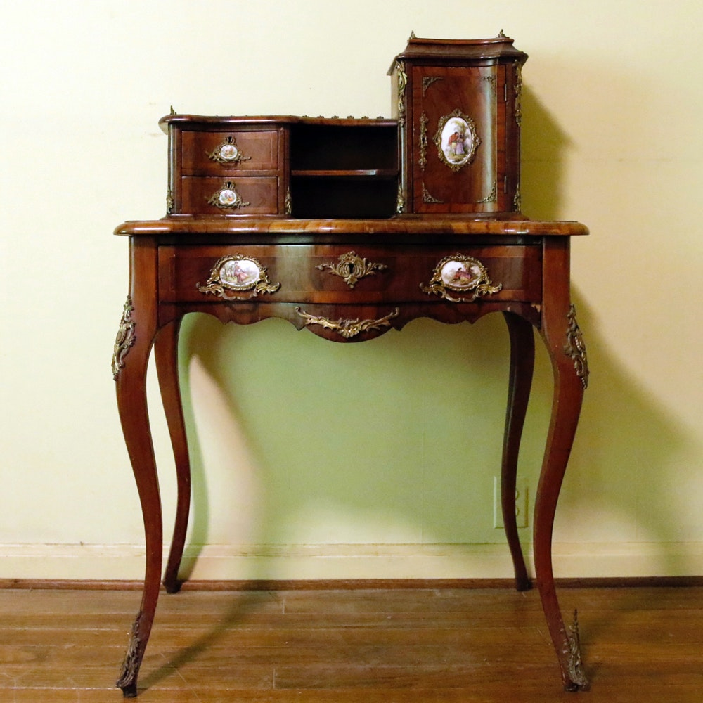 Antique French Louis XV Style Desk with Porcelain Medallions
