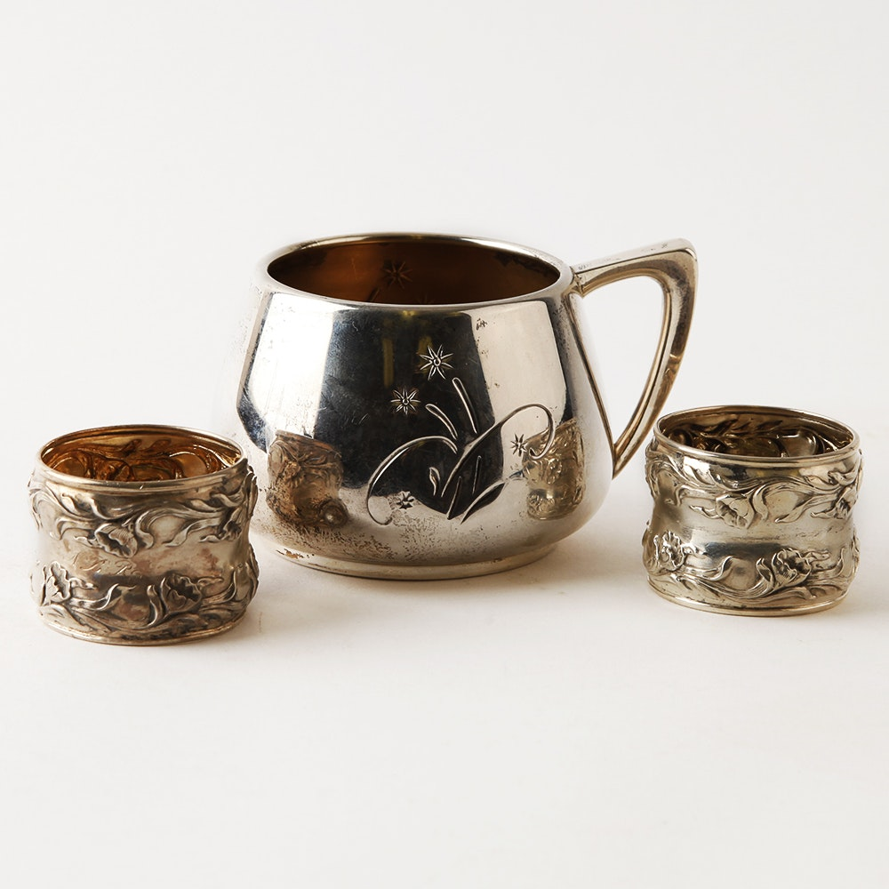 Gorham Sterling Baby Cup and Pair of Carved Napkin Rings