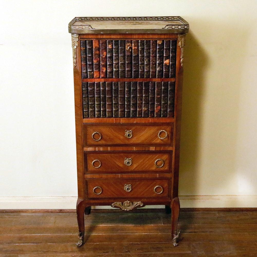 Antique Wooden Secretary Desk with Faux Bookshelves