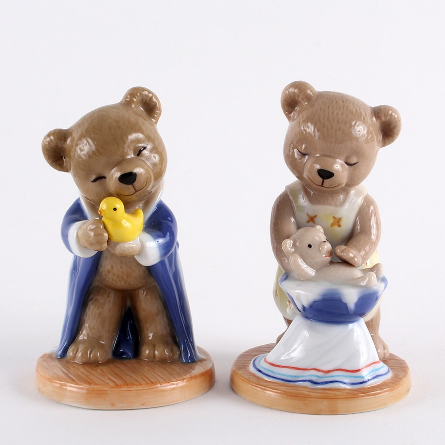 2001 Bing & Grøndahl Annual Victor and Victoria Porcelain Bear Figurines