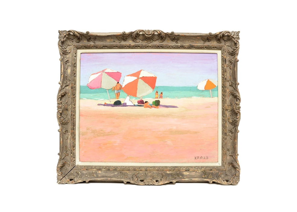 "Harold Kraus Original Oil On Board, Titled ""At the Beach"""