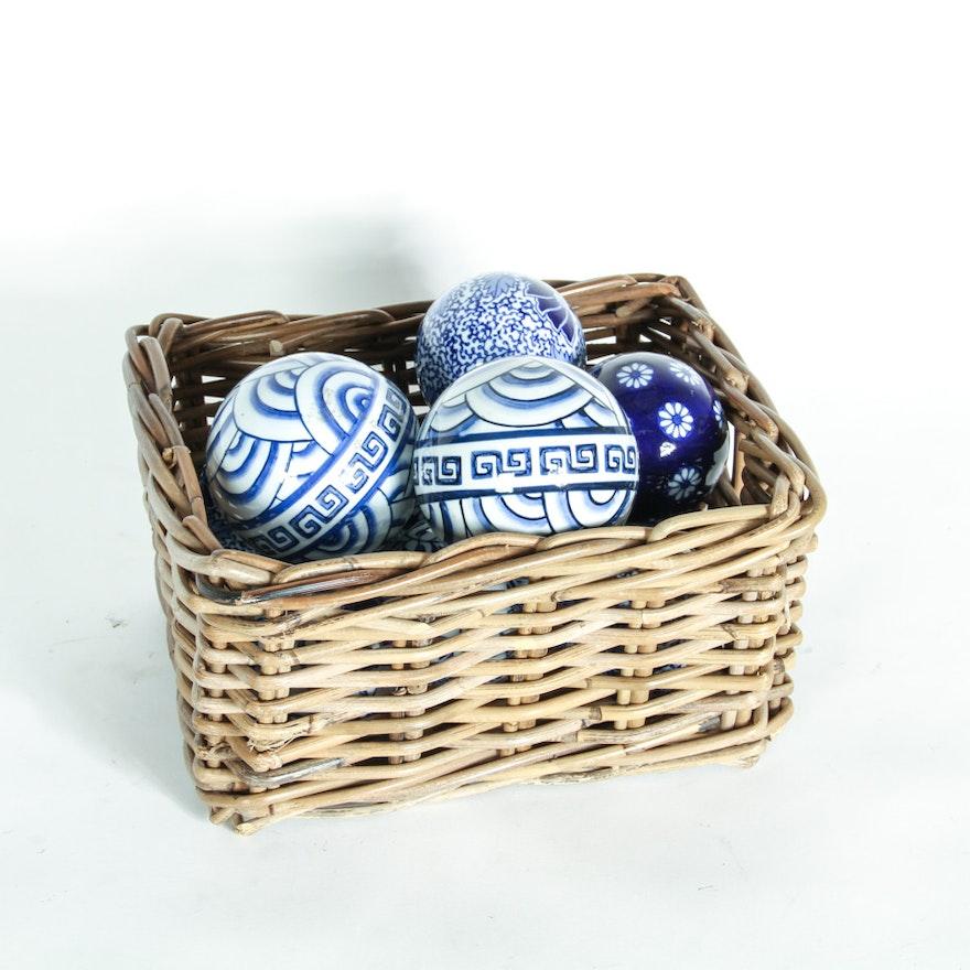 Wicker Basket With Decorative Balls